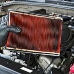 person holding a dirty automotive air filter